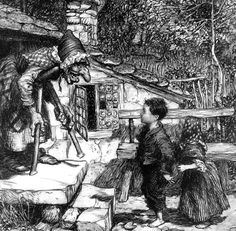 "the French version, ""The Lost Children"", takes it a little step further. The witch is actually the devil's wife who tries to put one of the children on a sawhorse. She wants the children to bleed slowly. The children pretend not to know how to get on, and so the devil's wife demonstrates. As she is lying down, the children slice her throat and are able to escape."