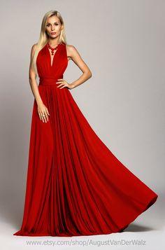 Red maxi Dress Long dress Evening dress by AugustVanDerWalz