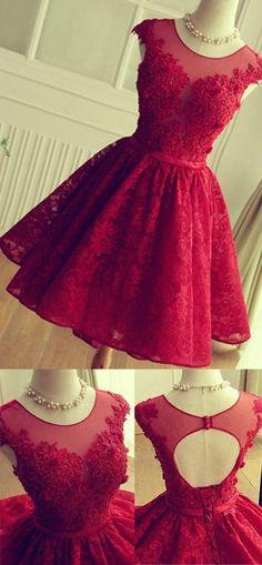 Short Homecoming Dresses, Red Graduation Dresses,Short Prom Gowns,Red Short Lace Homecoming Dresses, Knee-length Prom Dresses, SH78