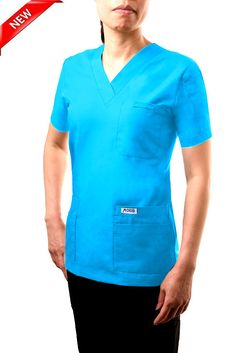 520T Aqua -V-Neck Solid Scrub Top -  This classic solid color v-neck scrub top is great for those who need to carry as many accessories as possible. A total of 6 front pockets, 5 in front and 1 shoulder pen pocket offer a home for everything you need to carry throughout the day.  Poly/Cotton 65/35 Medical Scrubs, Scrub Tops, Caregiver, Long Sleeve Tees, Aqua, Men Casual, V Neck, Pockets, Shoulder