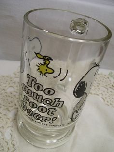 Hey, I found this really awesome Etsy listing at https://www.etsy.com/listing/512497715/snoopy-root-beer-mug-vintage-glass-mug