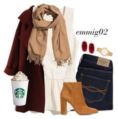 """peplum and pumpkin spice"" by emmig02 ❤ liked on Polyvore featuring Abercrombie & Fitch, Madewell, Gianvito Rossi, H&M, Kendra Scott and Kate Spade"