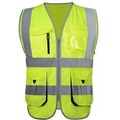 High Visibility Reflective Twill Vest  Price: 27.99 & FREE Shipping  #twillfashion Summer Work, Yellow Black, Work Wear, Fashion Brands, My Photos, Safety, Topshop, Vest, Zipper