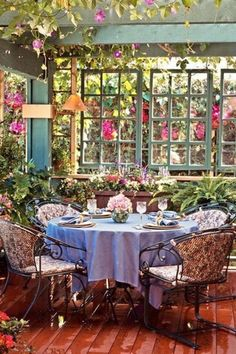 Cottage Patio with Cristal d'Arques 4-pc. Longchamp Wine Glass Set, Outdoor dining area, Raised beds, Wood pergola, Trellis