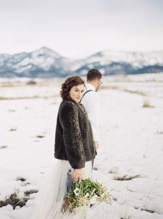 Mountain wedding inspiration: http://www.stylemepretty.com/2017/01/13/saying-i-do-in-snowy-winter-mountains-never-looked-so-pretty/ Photography: Simply Sarah - http://simplysarah.