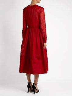 Valentino Long-sleeved pleated cotton-organza dress