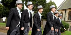 Traditional tails, also called morning suits for English weddings. Very elegant but not for the faint hearted.