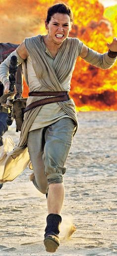 Run away: Daisy Ridley's character Rey, who dresses just like Luke Skywalker, does not look like she would stand much chance against Sith Lord Kylo Ren
