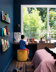 Kids room ideas. Paddy's room. The handcrafted rug is from Decorug and the Ottoman Arro Home. 'I couldn't find a red and white ticking striped bedspread so I had one made for $50 by a local sewer,' explains Carlene