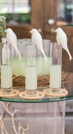 An amazing decorating detail, these perching white ceramic birds will not go unnoticed. Designed to sit effortlessly on the rim of vases and glassware, they will add instant personality to the tabletop displays at your wedding. Bachelorette Party Drinks, Wedding Theme Inspiration, Theme Ideas, Event Ideas, Party Ideas, Decor Ideas, Wedding Favors, Wedding Ideas, Wedding Themes