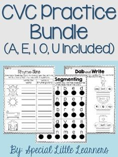 Included in this pack are supplementary activities for your study on CVC words. It includes all FIVE of my CVC word packs, which makes this a savings of $2! You practically get a set for FREE!I have included practice activities that have been beneficial for my students.