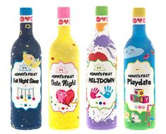 Mommy's Firsts WINE BOTTLE COVERS: Celebrate Mommy's 1st Motherhood Milestone Moments w/ love, laughter & wine!  Meltdown? Replace your tears with wine. Playdate? Forget your kid doesn't share, and share a glass of wine with your playdate Mom. Date Night? Embrace your postpartum maternity wear & toast your night of freedom w/ your mate. Full Night Sleep? Sip, savor and rejuvenate. 4 re-usable, spandex blend, adorable wine bottle covers that fit easily over all standard size 750ml bottles…