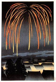 Festival Night Fireworks  by Yamamura Toyonari, 1924  (self-published print)