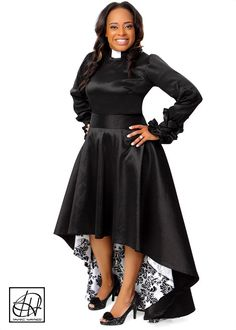 Clergy Blouse featuring a gathered long sleeve with elegant ruffle trimmed cuffs. Clergy Blouse in photo is made of Lightweight Black Stretch Taffeta.  Various fabrics and colors available.