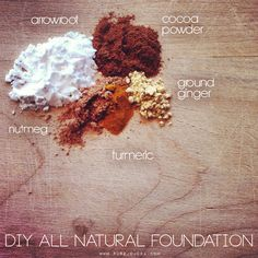 Turn your spice cabinet into your makeup drawer. With just 7 spices and flours, you can create your own ALL NATURAL FOUNDATION. everything is organic, natural, oh and edible ;)