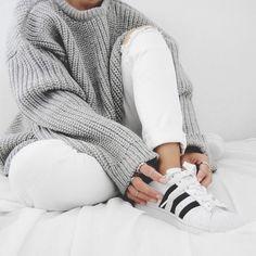 white adidas + white denim! + grey knit