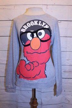 Forever 21 Top S Gray Red Black Brooklyn New York Hood Elmo Glasses Sweatshirt #FOREVER21 #SweatshirtCrew