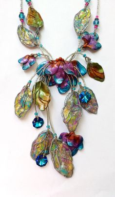 Fairy Wing Floral and Leaf Polymer Clay Statement