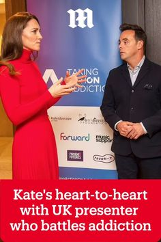 Kate Middleton, the Duchess of Cambridge, spoke to TV presenter Ant McPartlin about his addiction battle at a charity event in London today.