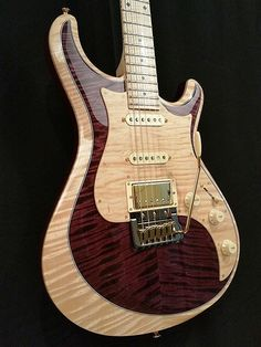 Knaggs Guitars Severn T2 Trem HSS Single Purf in Golden Narural Burgundy, curly Maple neck, Fret board and pick guard