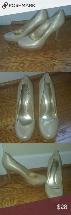 "Jessica Simpson shiny nude stiletto heels 8.5 Beautiful Jessica Simpson stiletto 4"" heels.  Shiny nude leather. In very good condition, just some slight signs of wear around the heels. Don't have the original box Jessica Simpson Shoes Heels"