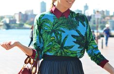 I am OBSESSED with this palm tree shirt and the maroon collar peeking out!