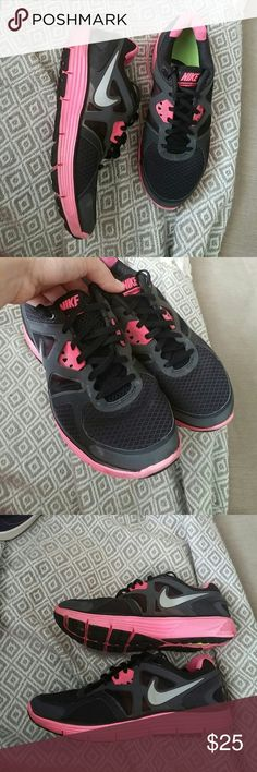 Nike lunarglide 3 Womens 7.5 color black with pink they are amazing shoes everywhere in good condition except on the bottom missing black patches on both shoes it dosent affect when worn selling as is! Nike Shoes Athletic Shoes