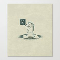 The Knight Who Said Ni Stretched Canvas by John Tibbott - $85.00