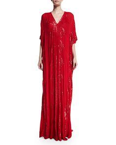 $8.990. Sequined+V-Neck+Silk+Caftan,+Red+by+Naeem+Khan+at+Bergdorf+Goodman.