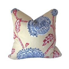 Pillow Cover Agathe Floral by Duralee Home in Red by CruelMountain