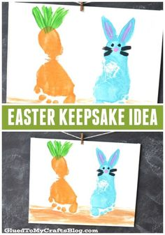 Footprint Easter Keepsake Idea - perfect as a kid made gift idea for grandparent . Footprint Easter Keepsake Idea – perfect as a kid made gift idea for grandparents ! Easter Arts And Crafts, Easter Crafts For Toddlers, Easter Projects, Bunny Crafts, Toddler Crafts, Easter For Babies, Art Projects, Daycare Crafts, Preschool Crafts