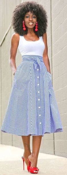 White & Blue Gingham, belted, button-front skirt| Style Pantry