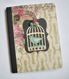 Altered Composition Book with Bird Cage by SoScrappyHappy on Etsy, $7.00