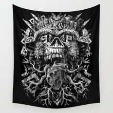 Wall Tapestry featuring Aztec Skull by Jorge Garza
