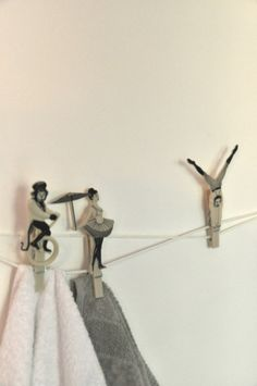 Master Guest Bathroom, Towel hangers made with string and circus pins. Interior design detail in my home.