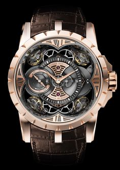 Roger Dubuis Excalibur Quatuor has four diagonally mounter balance wheels! Roger Dubuis Excalibur Quatuor has four diagonally mounter balance wheels! Amazing Watches, Beautiful Watches, Cool Watches, Fine Watches, Men's Watches, Skeleton Watches, Swiss Army Watches, Dream Watches, Expensive Watches