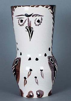 Picasso Ceramic Madoura Sculpture Signed, Maroon/Black Wood-Owl, 1952