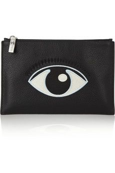 KENZO Eye-embroidered textured-leather pouch | NET-A-PORTER