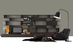Mueble modular de pared modular de madera con soporte para tv SKIP by Poliform   diseño Studio Kairos