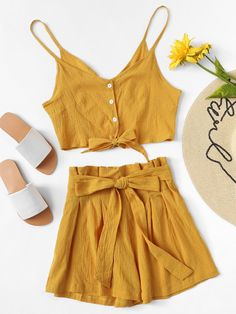 Knot Front Cami Top With Self Tie Shorts, Summer Outfits, Knot Front Cami Top With Self Tie Shorts. Teen Fashion Outfits, Mode Outfits, Short Outfits, Trendy Outfits, Two Piece Outfits Shorts, Cami Tops, Cute Summer Outfits, Spring Outfits, Womens Denim Overalls