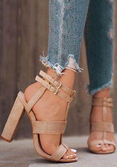 Mid High Block Heel Sandals