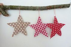 Fabric Christmas Stars Decorations, Chunky Christmas Ornaments in red, white, ecru. For children's tree