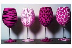 Pink Zebra Wine Glass (Set of Wine Glass Crafts, Wine Glass Set, Bottle Crafts, Bottle Art, Fun Crafts, Arts And Crafts, Do It Yourself Wedding, Pink Animals, Hand Painted Wine Glasses