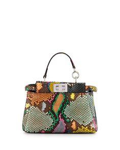 ec9999bb3ea4 Fendi Peekaboo Micro Painted Python Satchel Bag