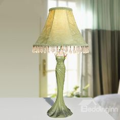 New Arrival Gorgeous Rose Gown Style Resin Table Lamp  @bedding inn