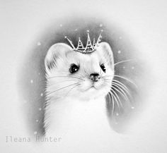 Little Snow Queen Stoat Pencil Drawing Nursery by IleanaHunter, $14.99