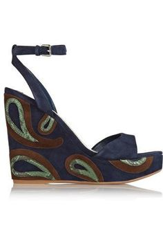 Python-trimmed suede wedge sandals #wedges #women #covetme #miumiu