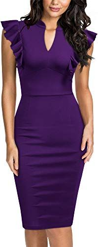 Ruffle Sleeve V-Neck Bodycon Party Dress - - Women's Vintage Ruffle Sleeve V-Neck Bodycon Evening Party Cocktail Pencil Sheath Dress. Ruffle Sleeve, Ruffle Dress, Strapless Dress, Bodycon Dress Parties, Party Dress, Women's Fashion Dresses, Dress Outfits, Women's Dresses, Robes D'occasion
