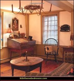 Early american colonial interiors americana decorating style folk art heartland decor for Americana furniture and interiors