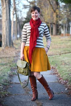 Already Pretty outfit featuring striped top, mustard skirt, maroon scarf, BCBG Doris boots, Fossil Maddox satchel